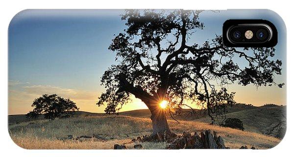 Fresno Silhouette iPhone Case - A Bright Orange Sun Peaking by Keith Ladzinski