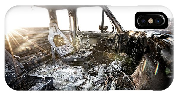 Barbara Steele iPhone Case - A Burned Out Truck At Sunset by Kevin Steele