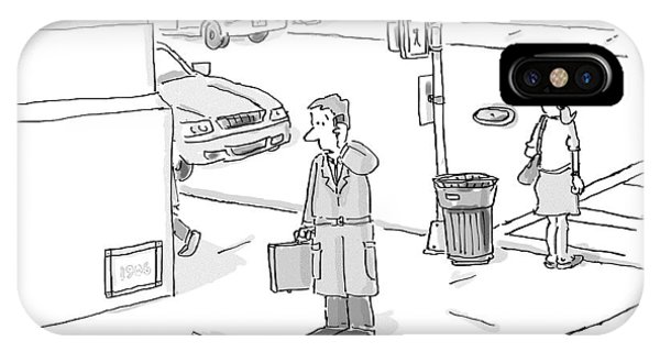 A Businessman Standing On A Street Corner Talks IPhone Case
