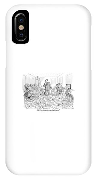 Flooded iPhone Case - A Businessman Talks On The Phone As His Office by Paul Noth