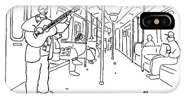 A Busker Sings And Plays Guitar For Uninterested IPhone Case