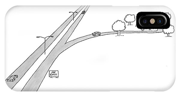 Highway iPhone Case - A Car Pulls Off A Highway by Jack Ziegler