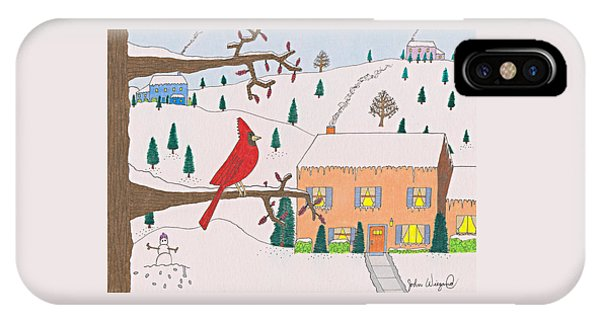 IPhone Case featuring the drawing A Cardinal Christmas by John Wiegand