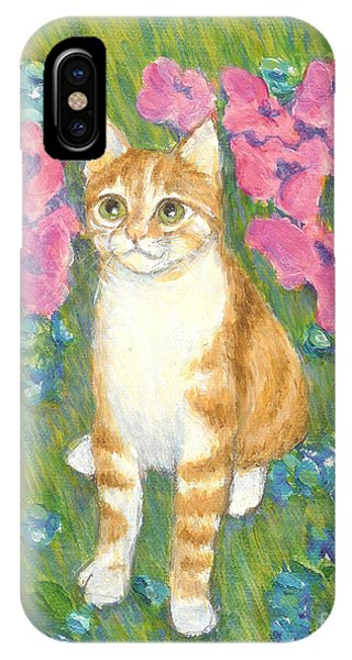 A Cat And Meadow Flowers IPhone Case