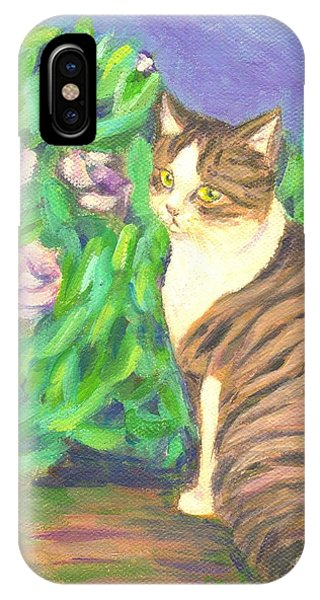 A Cat At A Garden IPhone Case