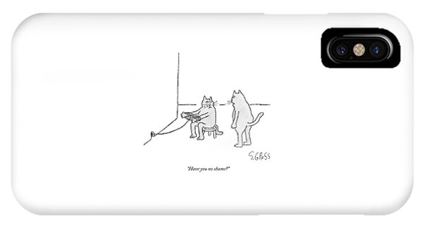 A Cat Sitting On A Stool Outside A Hole IPhone Case