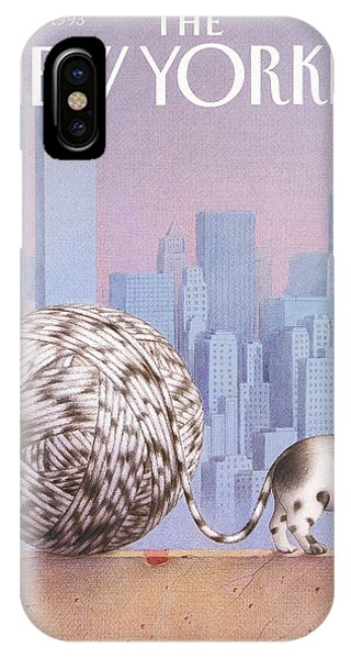 A Cat With A Ball Of String For A Tail IPhone Case