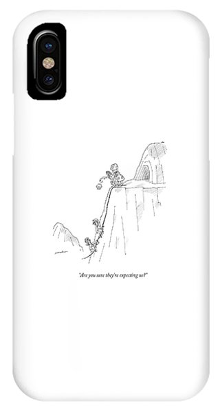 A Caveman And Woman Climb Up A Cliff IPhone Case