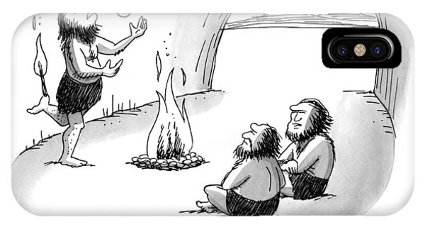 A Caveman Is Juggling Sticks Of Fire While Two IPhone Case
