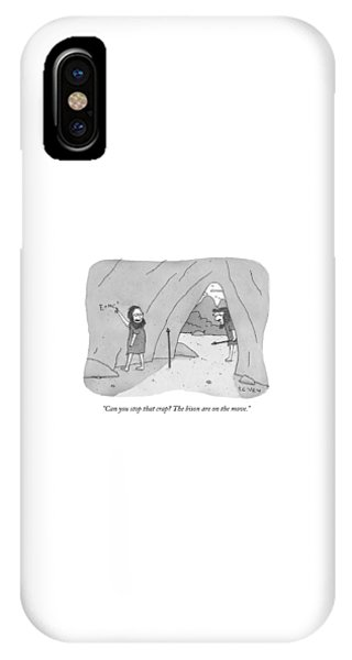 A Caveman Speaks To Another Caveman Who IPhone Case
