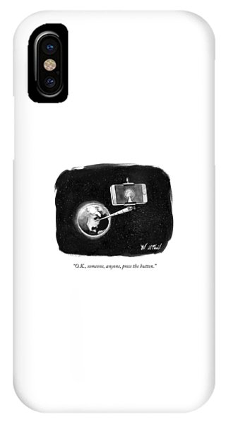 A Cell Phone Camera Is Held In Outer Space IPhone Case