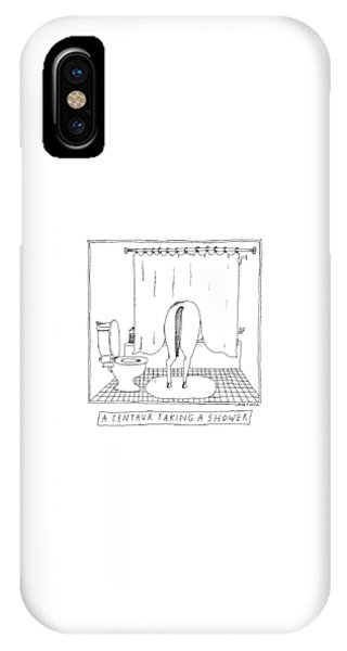 Centaur iPhone Case - A Centaur Taking A Shower -- The Horse's Rear End by Liana Finck