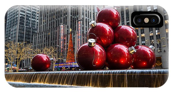 A Christmas Card From New York City - Radio City Music Hall And The Giant Red Balls IPhone Case