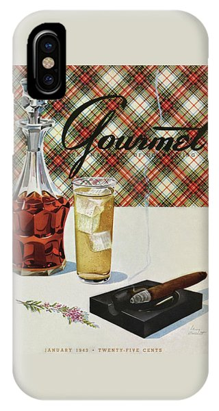 A Cigar In An Ashtray Beside A Drink And Decanter IPhone Case