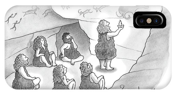 A Circle Of Cavemen Sit Around One Caveman Who IPhone Case