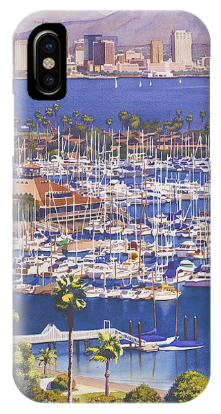 Docked Boats iPhone Case - A Clear Day In San Diego by Mary Helmreich