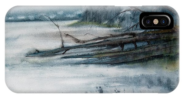 IPhone Case featuring the painting A Cold And Foggy View by Jani Freimann
