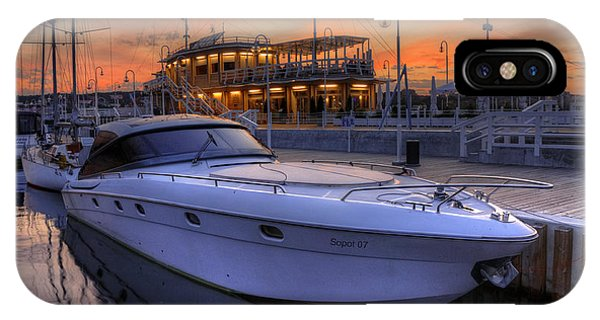 A Cool Motorboat Yacht In Sopot Marina IPhone Case