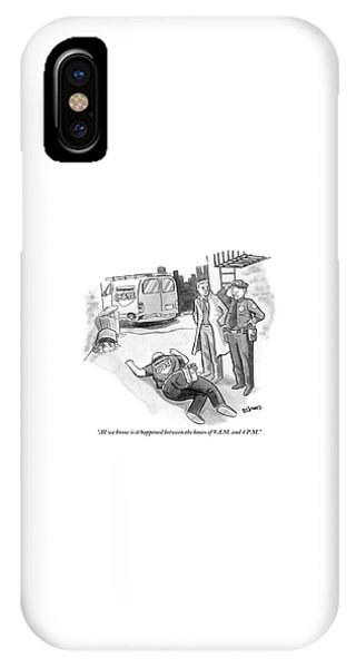 A Cop And A Detective Stand Over The Face-down IPhone Case
