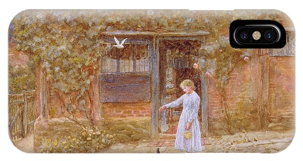 Rosebush iPhone Case - A Cottage At Shere by Helen Allingham