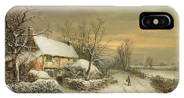 Snowy Road iPhone Case - A Cottage In Winter, 19th Century by William Oliver Stone