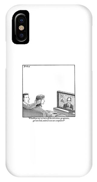 A Couple Are Sitting On A Couch Late At Night IPhone Case