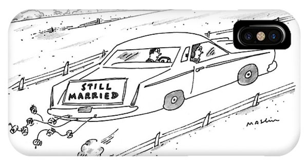 A Couple Driving A Car With A Still Married Sign IPhone Case