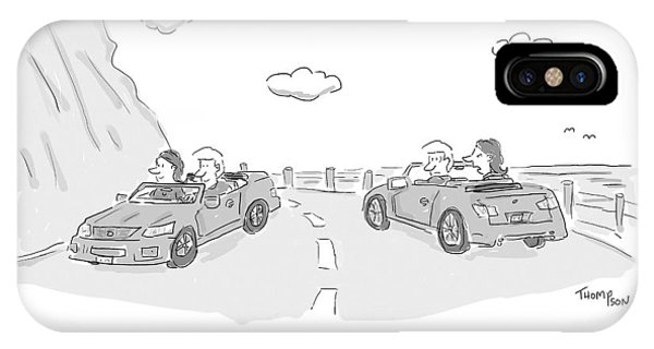 A Couple Driving In A Car Are Speaking IPhone Case