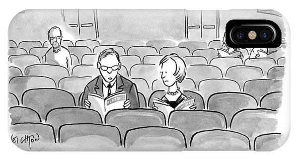 A Couple Sits Reading A Playbill IPhone Case