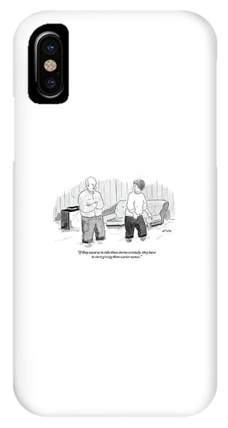 Flooded iPhone Case - A Couple Stand And Talk In Their Flooded Living by Emily Flake