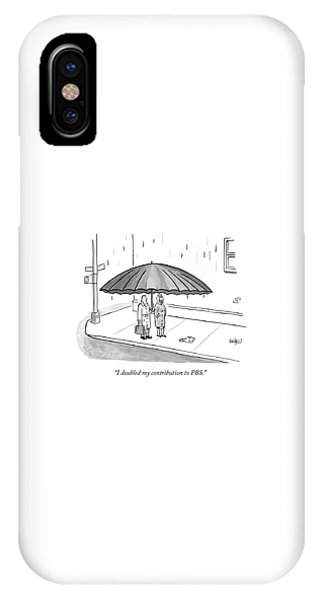 A Couple Under A Gigantic Umbrella On A City IPhone Case