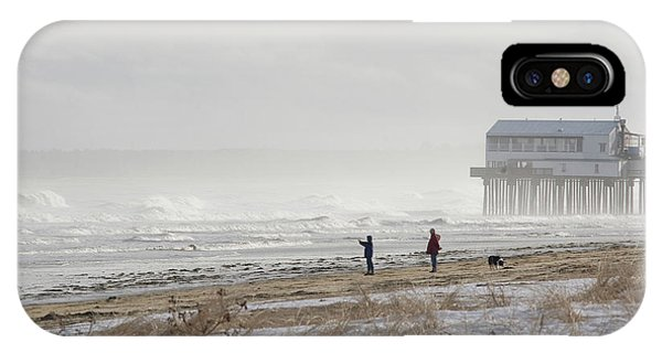 Orchard Beach iPhone Case - A Couple Walks Their Dog And Takes by Mark Marchesi