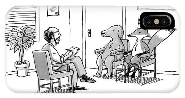 Quick iPhone Case - A Couples Therapist Speaks To A Fox And A Dog by Joe Dator