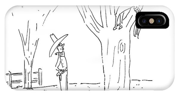 A Cowboy Talks To His Horse In A Tree IPhone Case