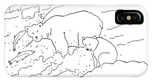A Cub Polar Bear Exclaims While Family Hunts IPhone Case