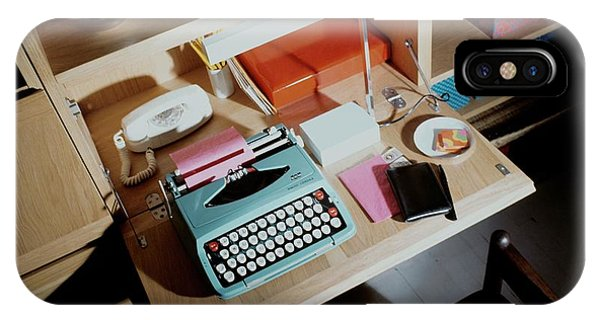 A Cupboard With A Blue Typewriter IPhone Case