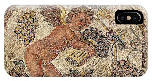 A Cupid Picking Grapes, Fragment Of Pavement From Carthage, Tunisia Mosaic IPhone Case