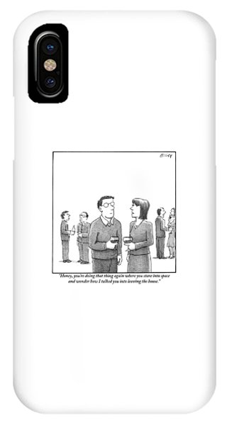 A Disgruntled-looking Woman Speaks To Her Husband IPhone Case