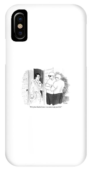 Debts iPhone Case - A Disgruntled Man Holding A Coffee Mug Stands by Emily Flake