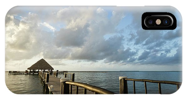 Belize iPhone Case - A Dock And Palapa, Placencia, Belize by William Sutton