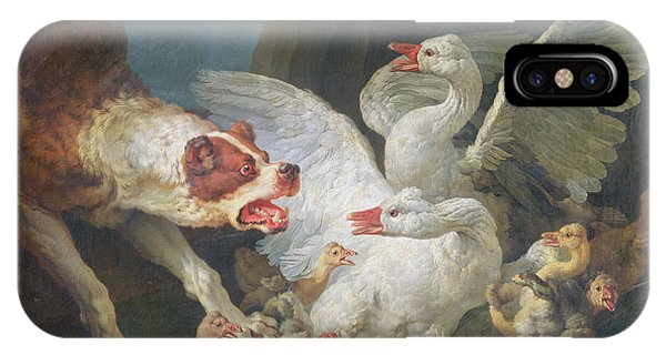 Goslings iPhone Case - A Dog Attacking Geese, 1769 Oil On Canvas by Jean-Baptiste Huet