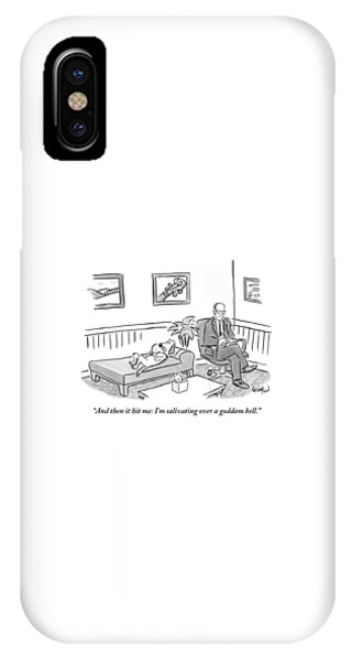 A Dog Lies On The Bed In A Psychiatrist's Office IPhone Case