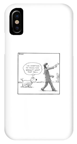 A Dog Thinks To Himself As A Woman Throws A Ball IPhone Case