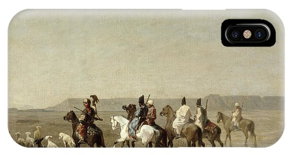 Horseman iPhone Case - A Falcon Hunt, 1862 Oil On Canvas by Alberto Pasini