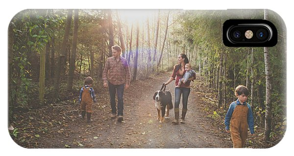 Bernese Mountain Dog iPhone Case - A Family Of Five With A Dog Enjoy by Christopher Kimmel