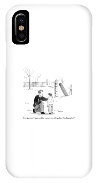 A Father Encourages His Son At The Playground IPhone Case