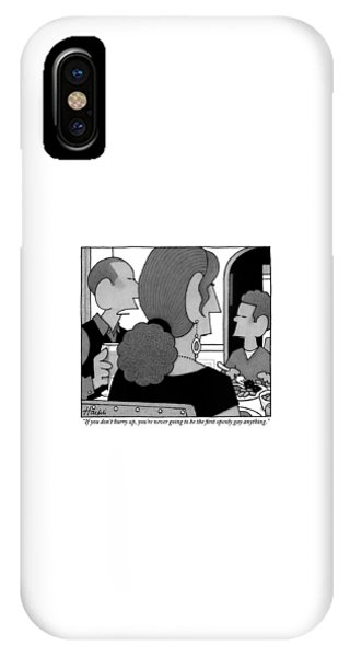 A Father Speaks To His Young Son At The Dinner IPhone Case