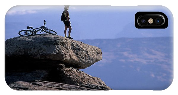 It Professional iPhone Case - A Female Mountain Biker Stands by Corey Rich
