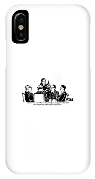 A Female Sommelier Presents A Bottle Of Wine IPhone Case