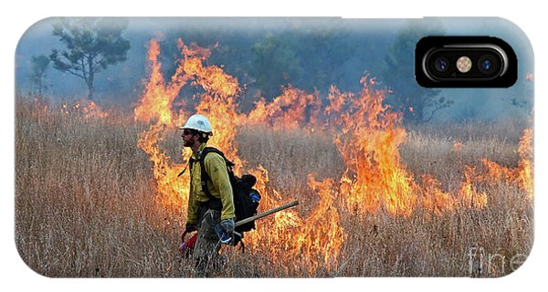 A Firefighter Ignites The Norbeck Prescribed Fire. IPhone Case